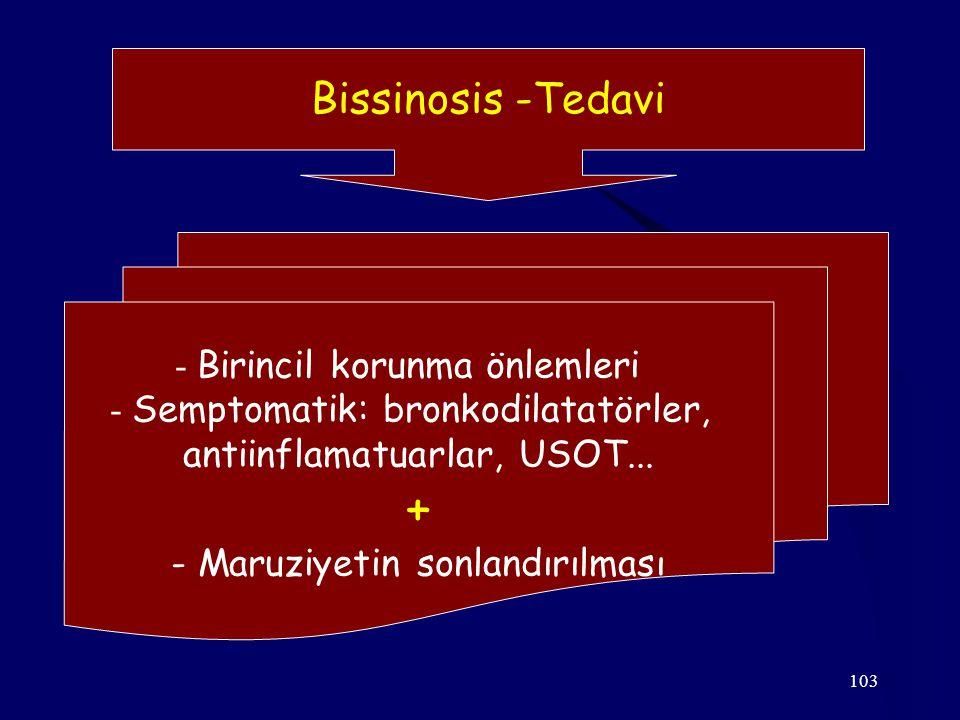 + Bissinosis -Tedavi - Birincil korunma önlemleri