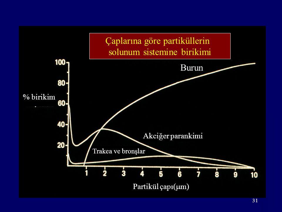 Çaplarına göre partiküllerin solunum sistemine birikimi