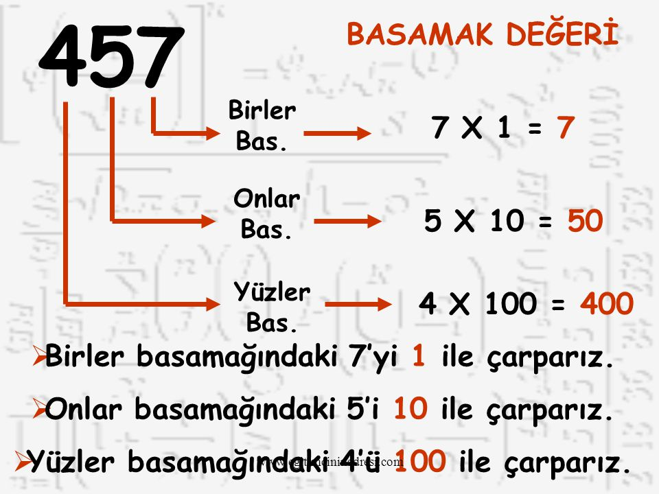 457 BASAMAK DEĞERİ. Birler Bas. 7 X 1 = 7. Onlar Bas. 5 X 10 = 50. Yüzler Bas. 4 X 100 = 400.