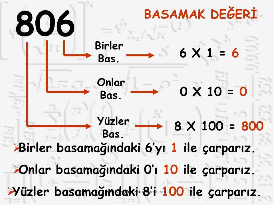 806 BASAMAK DEĞERİ. Birler Bas. 6 X 1 = 6. Onlar Bas. 0 X 10 = 0. Yüzler Bas. 8 X 100 = 800. Birler basamağındaki 6'yı 1 ile çarparız.