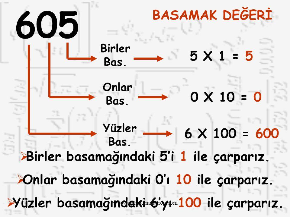 605 BASAMAK DEĞERİ. Birler Bas. 5 X 1 = 5. Onlar Bas. 0 X 10 = 0. Yüzler Bas. 6 X 100 = 600. Birler basamağındaki 5'i 1 ile çarparız.