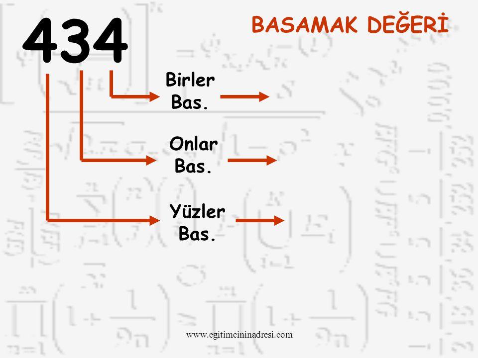 434 BASAMAK DEĞERİ Birler Bas. Onlar Bas. Yüzler Bas.