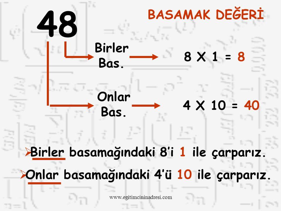 48 BASAMAK DEĞERİ Birler Bas. 8 X 1 = 8 Onlar Bas. 4 X 10 = 40