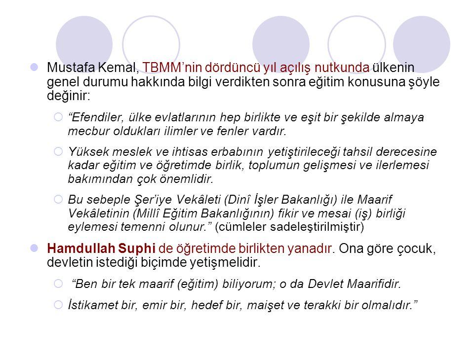 Mustafa Kemal, TBMM'nin dördüncü yıl açılış nutkunda ülkenin genel durumu hakkında bilgi verdikten sonra eğitim konusuna şöyle değinir: