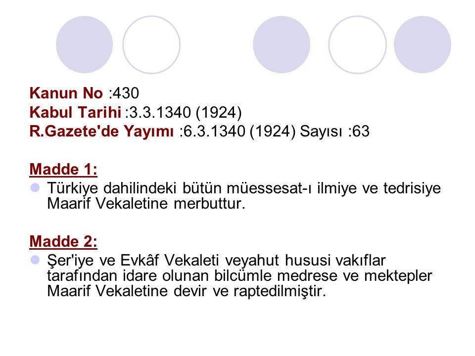 Kanun No :430 Kabul Tarihi :3.3.1340 (1924) R.Gazete de Yayımı :6.3.1340 (1924) Sayısı :63. Madde 1: