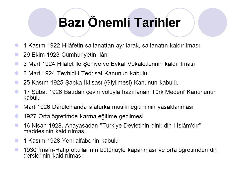 Bazı Önemli Tarihler 1 Kasım 1922 Hilâfetin saltanattan ayrılarak, saltanatın kaldırılması. 29 Ekim 1923 Cumhuriyetin ilânı.