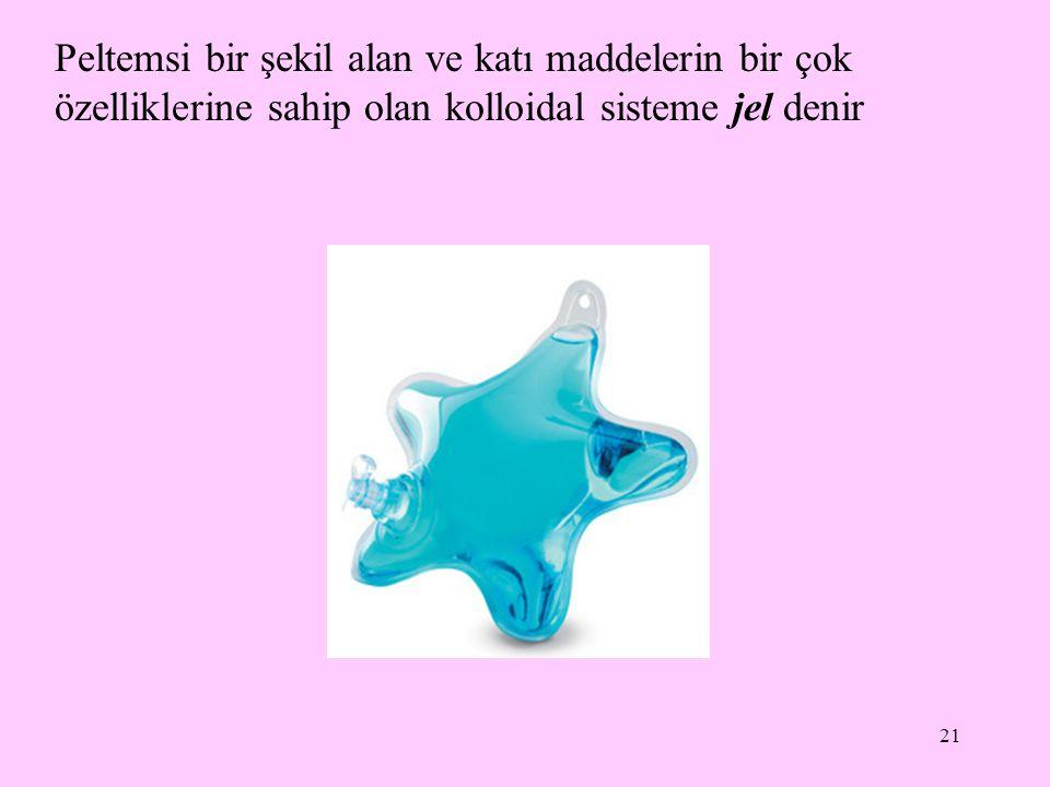 Peltemsi bir şekil alan ve katı maddelerin bir çok özelliklerine sahip olan kolloidal sisteme jel denir