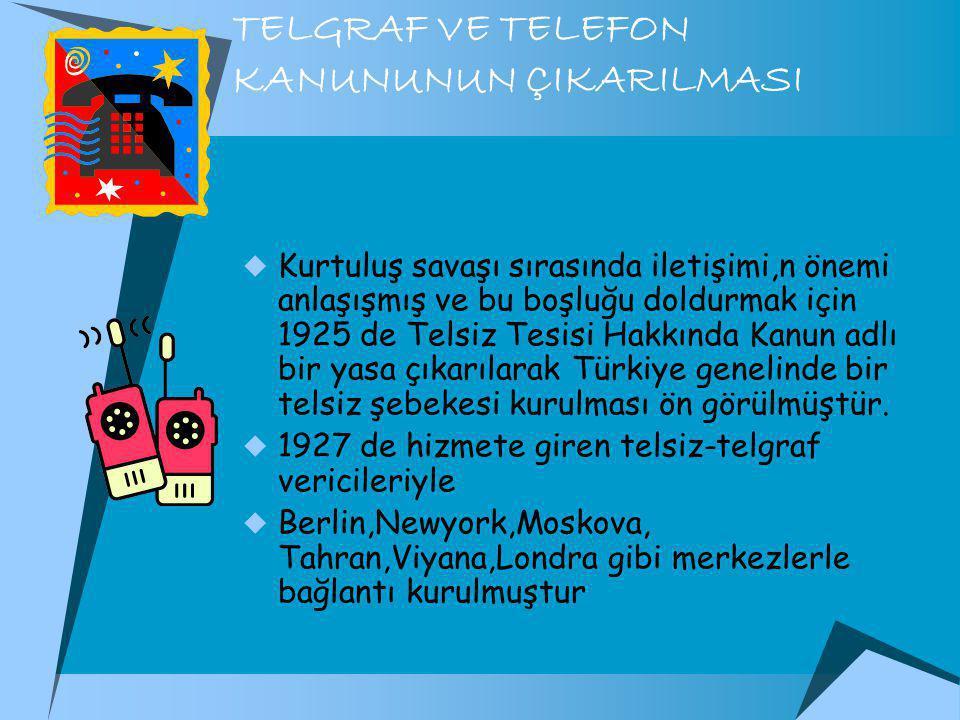 TELGRAF VE TELEFON KANUNUNUN ÇIKARILMASI