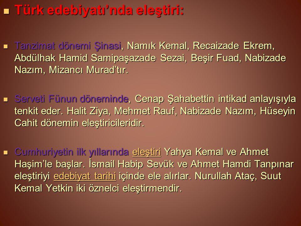 Türk edebiyatı'nda eleştiri: