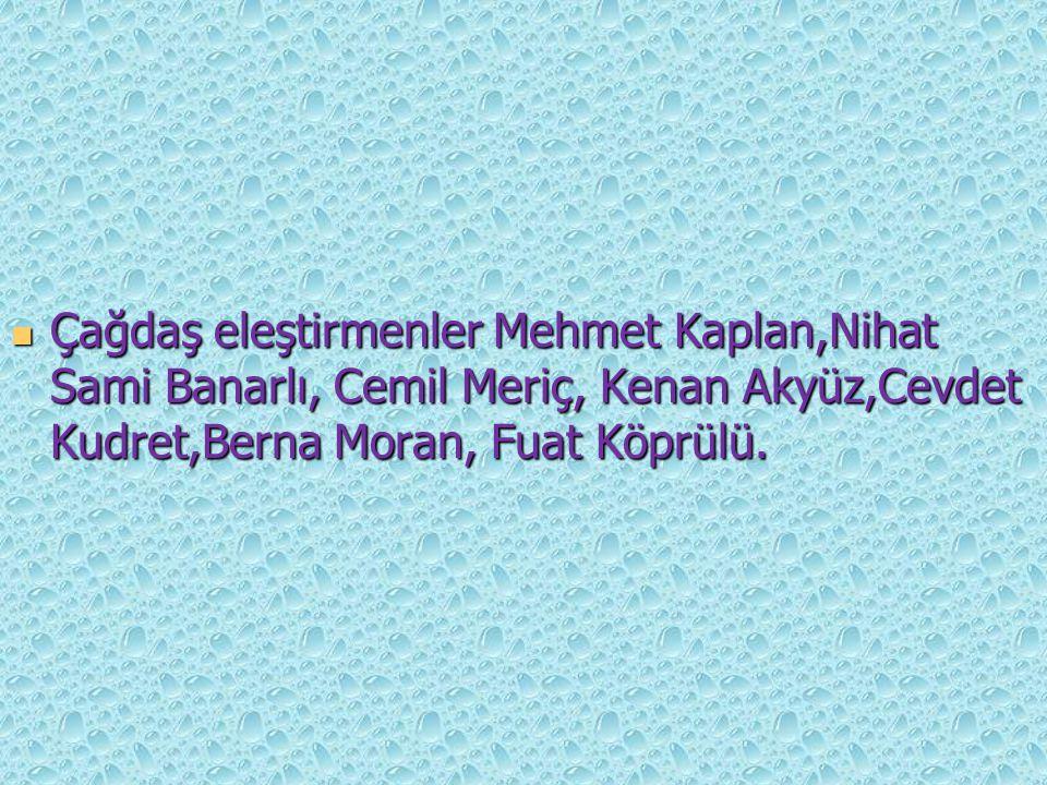 Çağdaş eleştirmenler Mehmet Kaplan,Nihat Sami Banarlı, Cemil Meriç, Kenan Akyüz,Cevdet Kudret,Berna Moran, Fuat Köprülü.