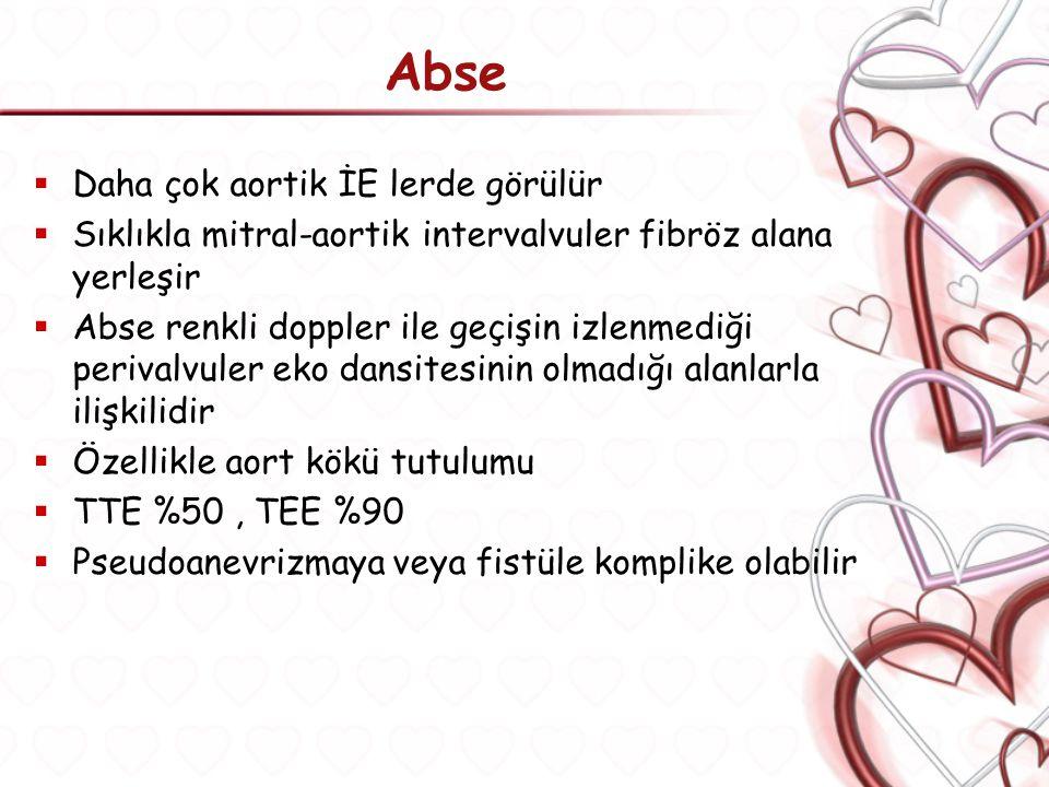 Abse Daha çok aortik İE lerde görülür