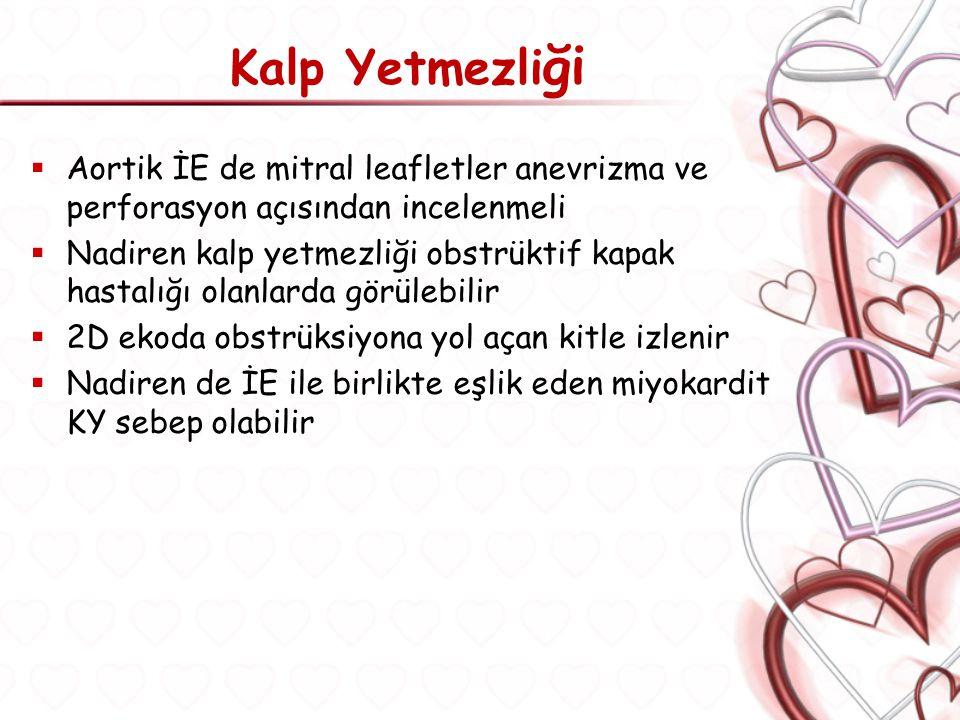 Kalp Yetmezliği Aortik İE de mitral leafletler anevrizma ve perforasyon açısından incelenmeli.