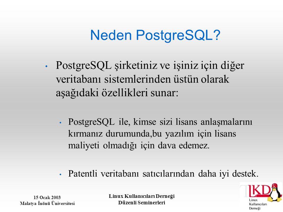 Neden PostgreSQL PostgreSQL şirketiniz ve işiniz için diğer veritabanı sistemlerinden üstün olarak aşağıdaki özellikleri sunar: