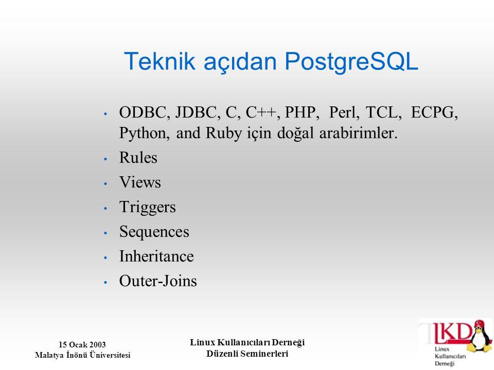Teknik açıdan PostgreSQL