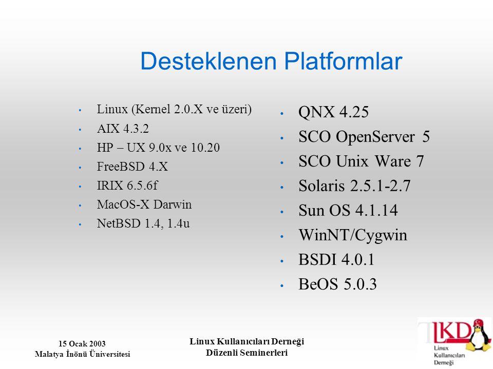 Desteklenen Platformlar