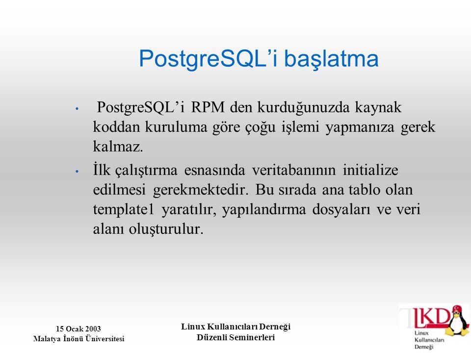PostgreSQL'i başlatma