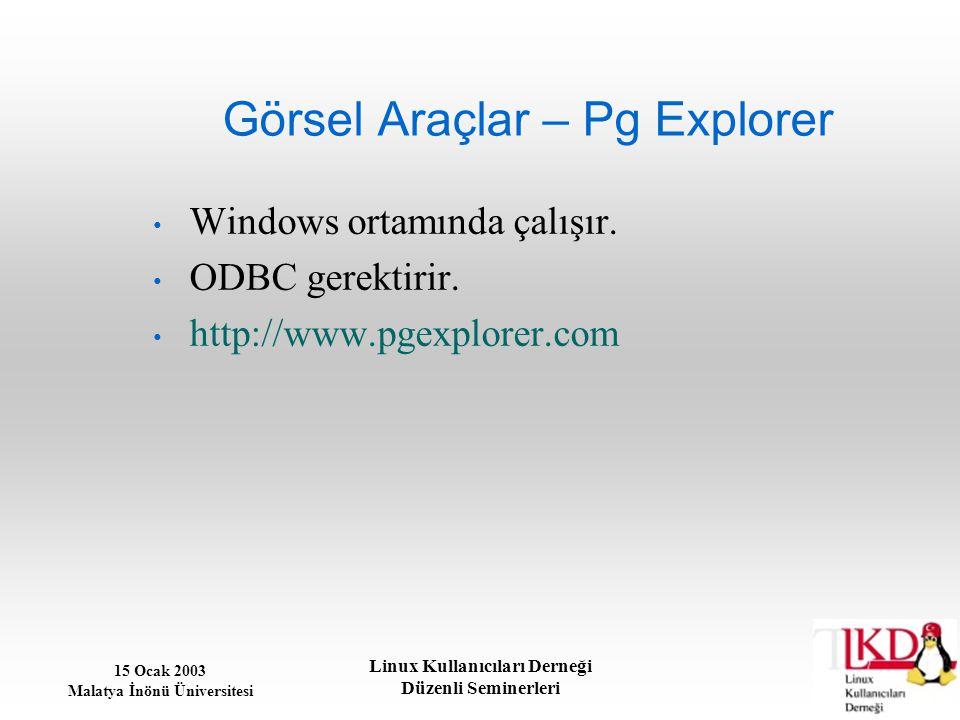 Görsel Araçlar – Pg Explorer