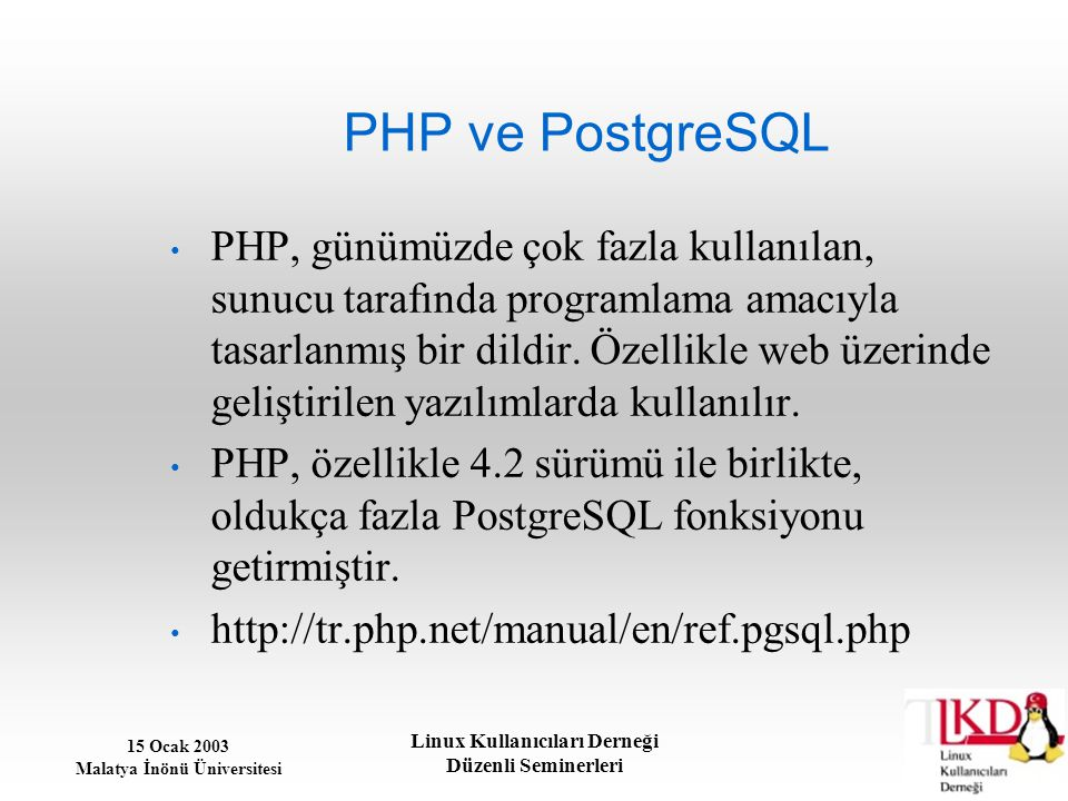 PHP ve PostgreSQL