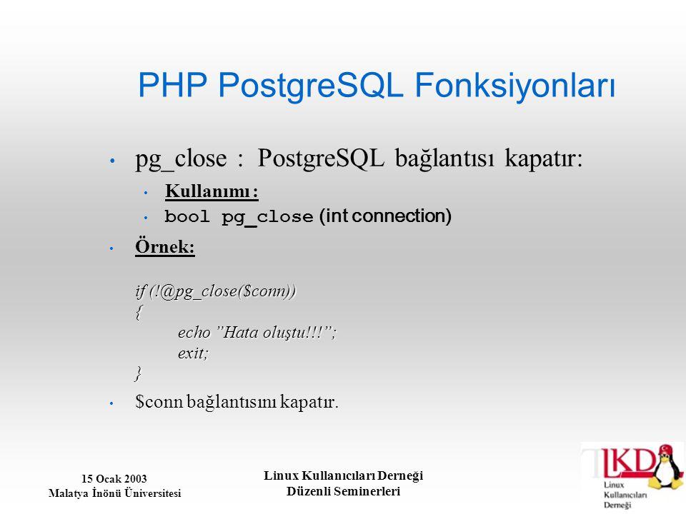 PHP PostgreSQL Fonksiyonları