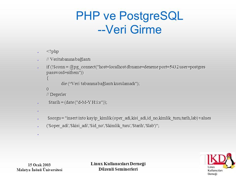 PHP ve PostgreSQL --Veri Girme