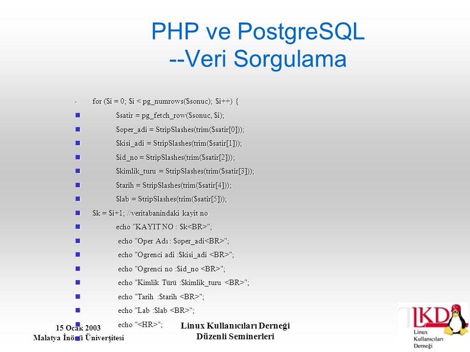 PHP ve PostgreSQL --Veri Sorgulama