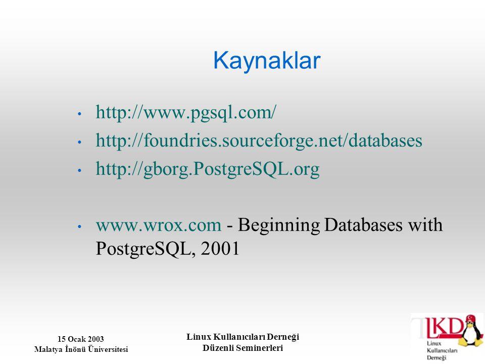Kaynaklar http://www.pgsql.com/