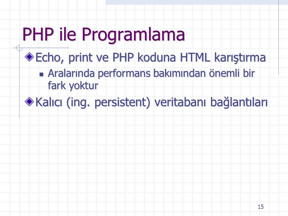 PHP ile Programlama Echo, print ve PHP koduna HTML karıştırma