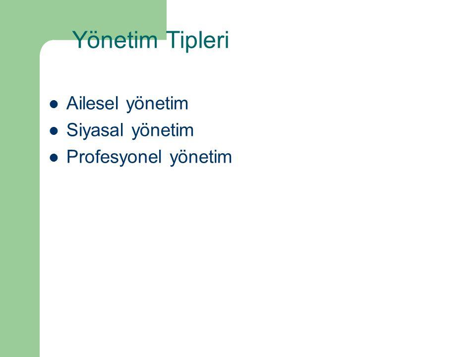 Yönetim Tipleri Ailesel yönetim Siyasal yönetim Profesyonel yönetim