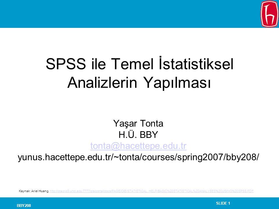 SPSS ile Temel İstatistiksel Analizlerin Yapılması