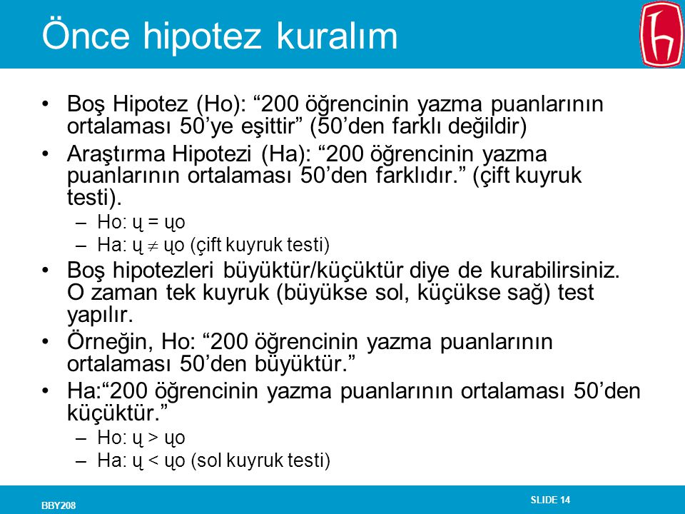 Önce hipotez kuralım Boş Hipotez (Ho): 200 öğrencinin yazma puanlarının ortalaması 50'ye eşittir (50'den farklı değildir)