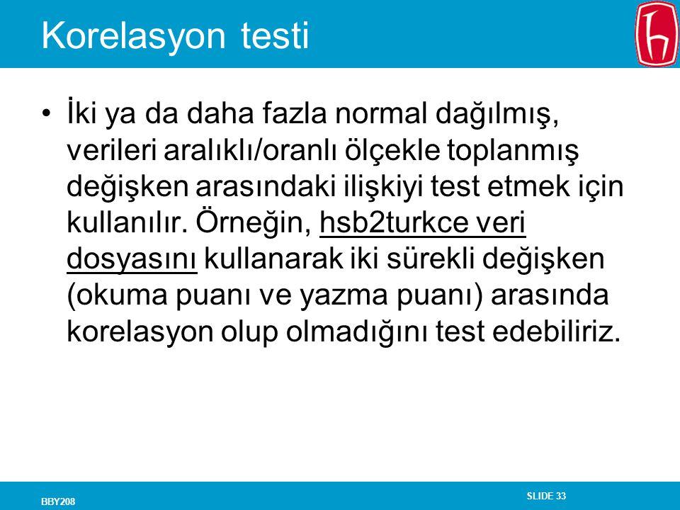Korelasyon testi
