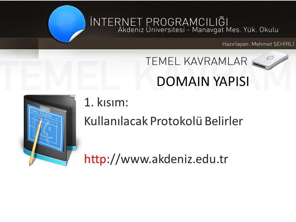 1. kısım: Kullanılacak Protokolü Belirler http://www.akdeniz.edu.tr