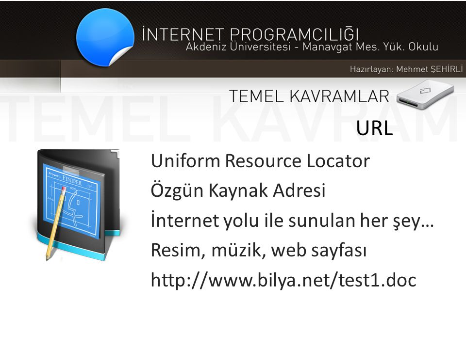 URL Uniform Resource Locator Özgün Kaynak Adresi