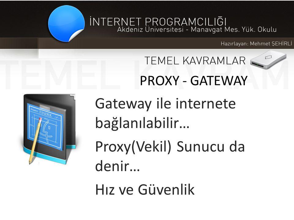 Gateway ile internete bağlanılabilir… Proxy(Vekil) Sunucu da denir…