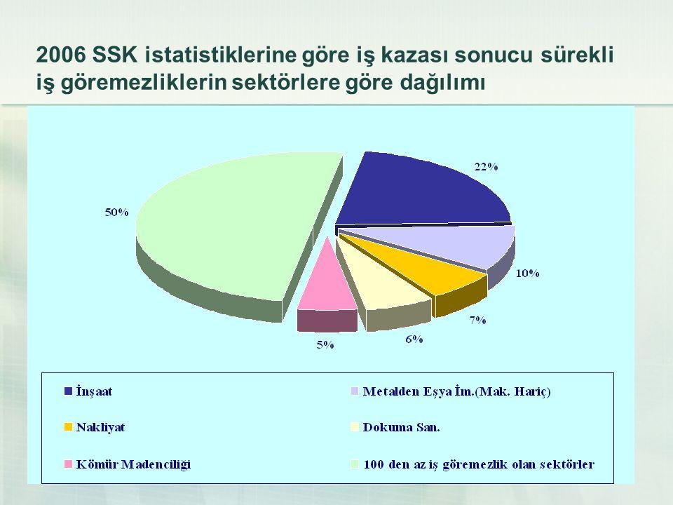 2006 SSK istatistiklerine göre iş kazası sonucu sürekli iş göremezliklerin sektörlere göre dağılımı