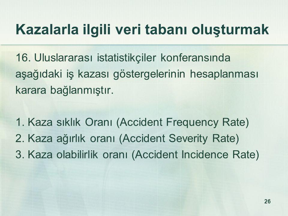 Kazalarla ilgili veri tabanı oluşturmak