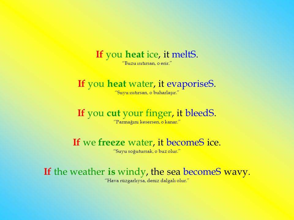 If you heat ice, it meltS. Buzu ısıtırsan, o erir.