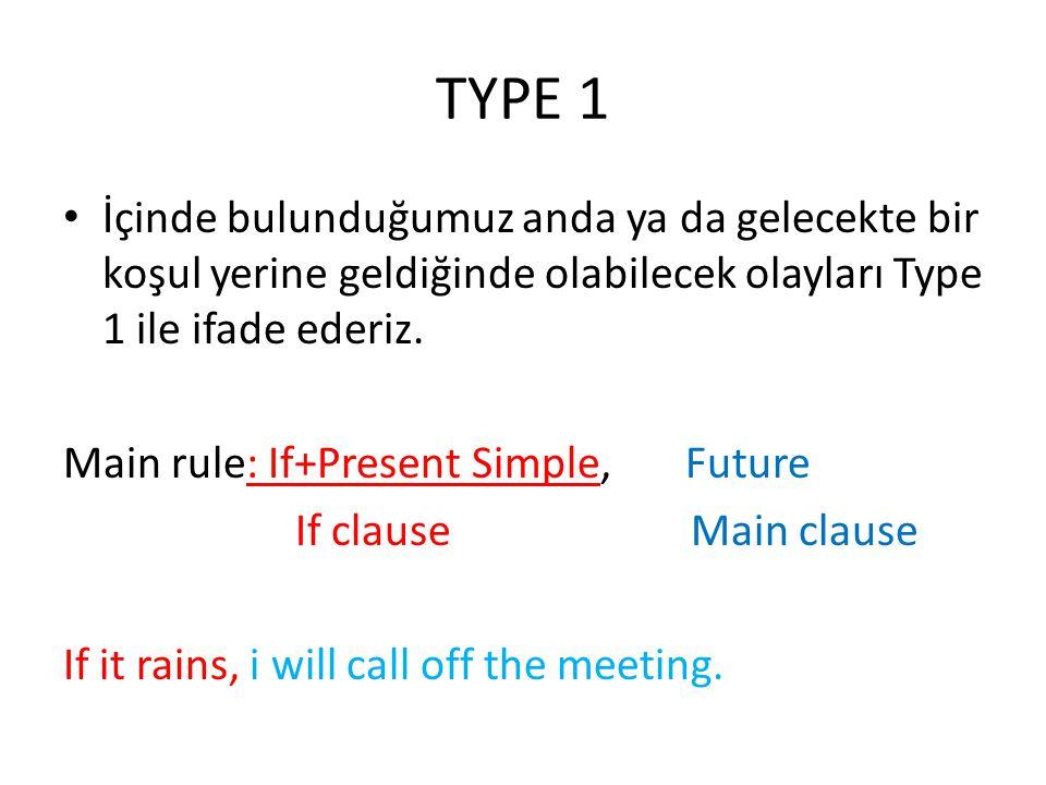 TYPE 1 İçinde bulunduğumuz anda ya da gelecekte bir koşul yerine geldiğinde olabilecek olayları Type 1 ile ifade ederiz.