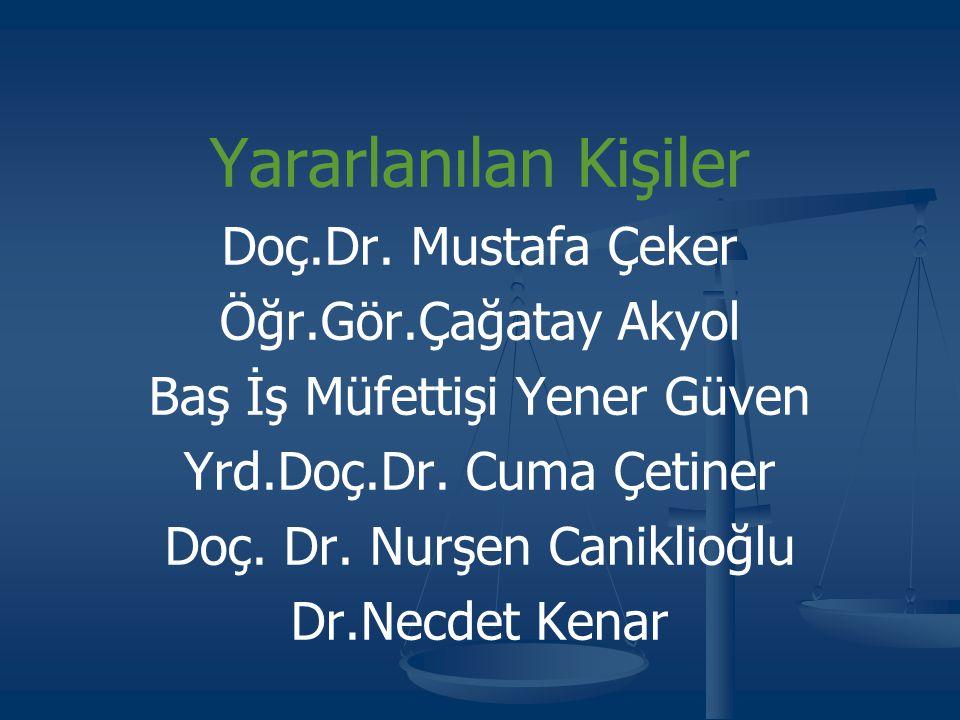 Yararlanılan Kişiler Doç.Dr. Mustafa Çeker Öğr.Gör.Çağatay Akyol