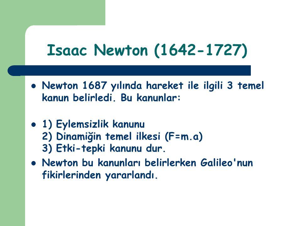 Isaac Newton (1642-1727) Newton 1687 yılında hareket ile ilgili 3 temel kanun belirledi. Bu kanunlar: