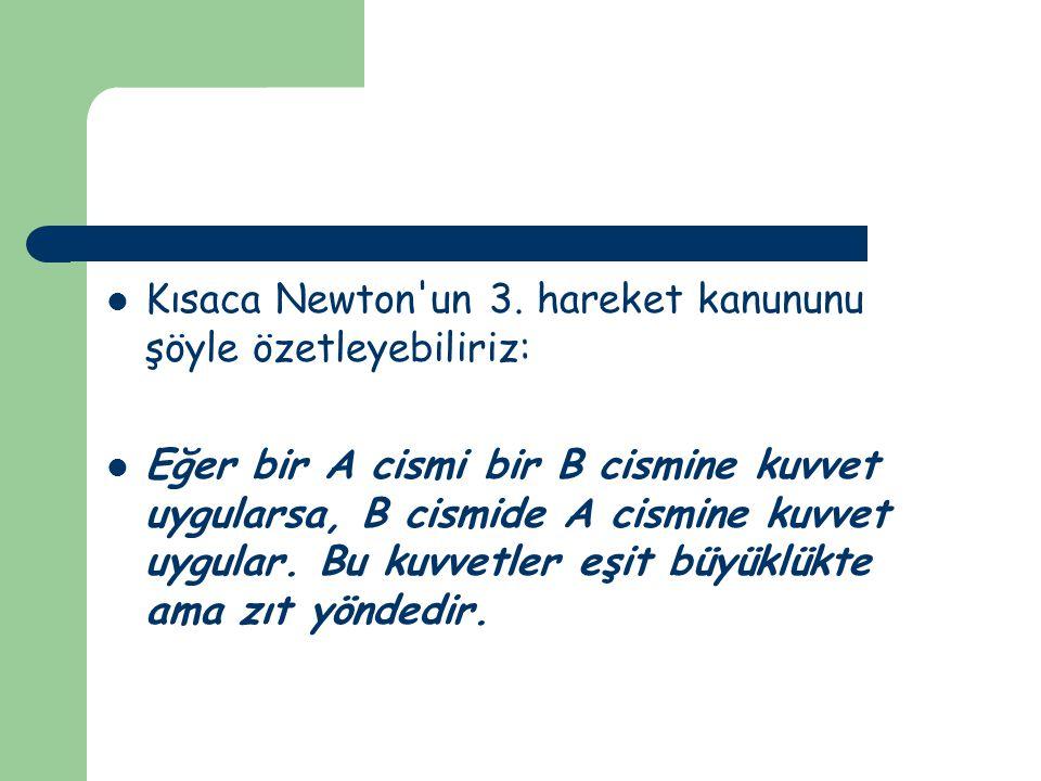 Kısaca Newton un 3. hareket kanununu şöyle özetleyebiliriz: