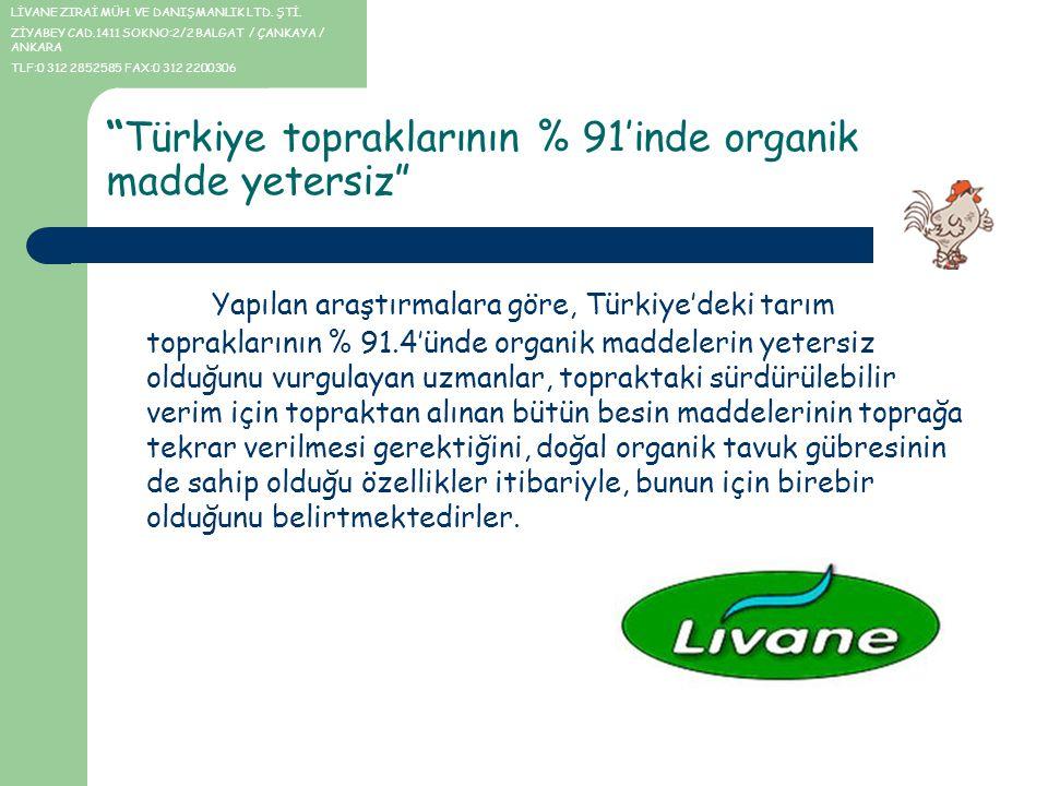 Türkiye topraklarının % 91'inde organik madde yetersiz