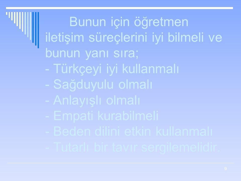 Bunun için öğretmen iletişim süreçlerini iyi bilmeli ve bunun yanı sıra; - Türkçeyi iyi kullanmalı - Sağduyulu olmalı - Anlayışlı olmalı - Empati kurabilmeli - Beden dilini etkin kullanmalı - Tutarlı bir tavır sergilemelidir.