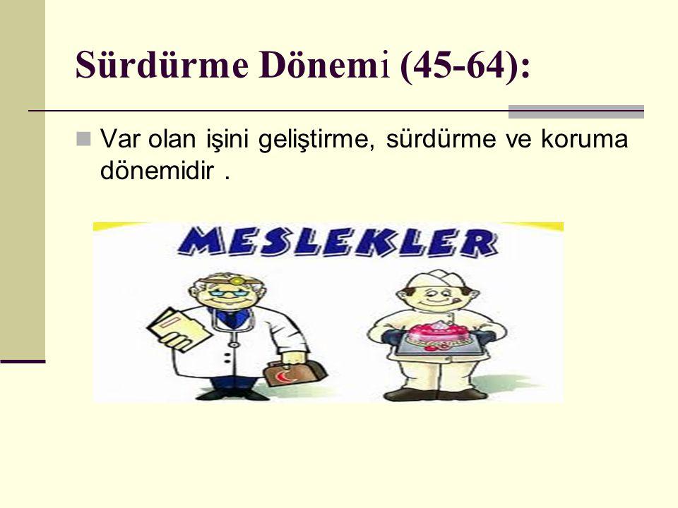 Sürdürme Dönemi (45-64): Var olan işini geliştirme, sürdürme ve koruma dönemidir .