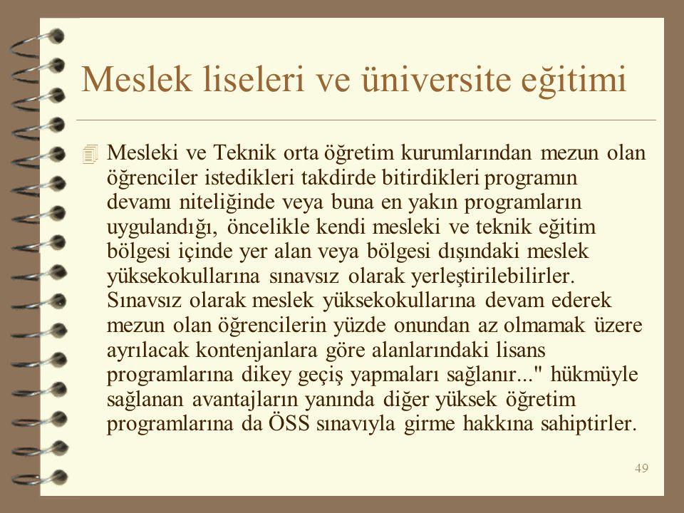 Meslek liseleri ve üniversite eğitimi