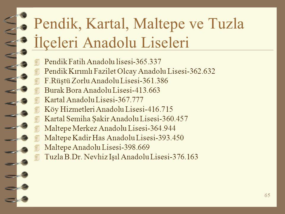 Pendik, Kartal, Maltepe ve Tuzla İlçeleri Anadolu Liseleri
