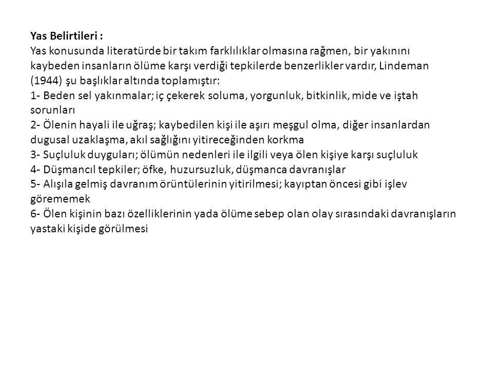 Yas Belirtileri :
