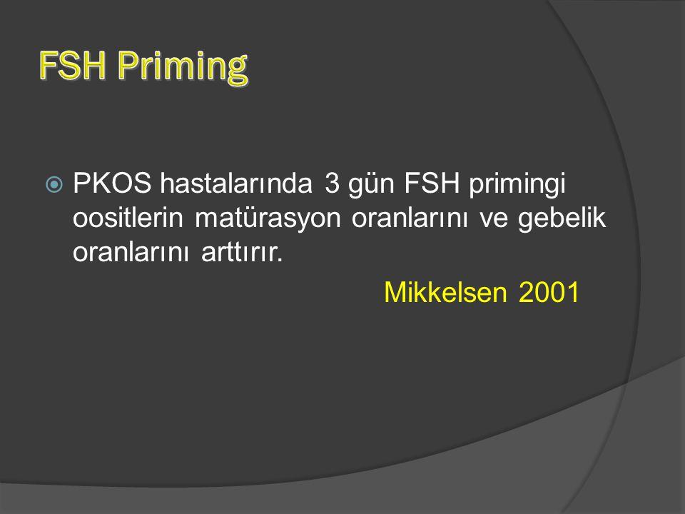 FSH Priming PKOS hastalarında 3 gün FSH primingi oositlerin matürasyon oranlarını ve gebelik oranlarını arttırır.