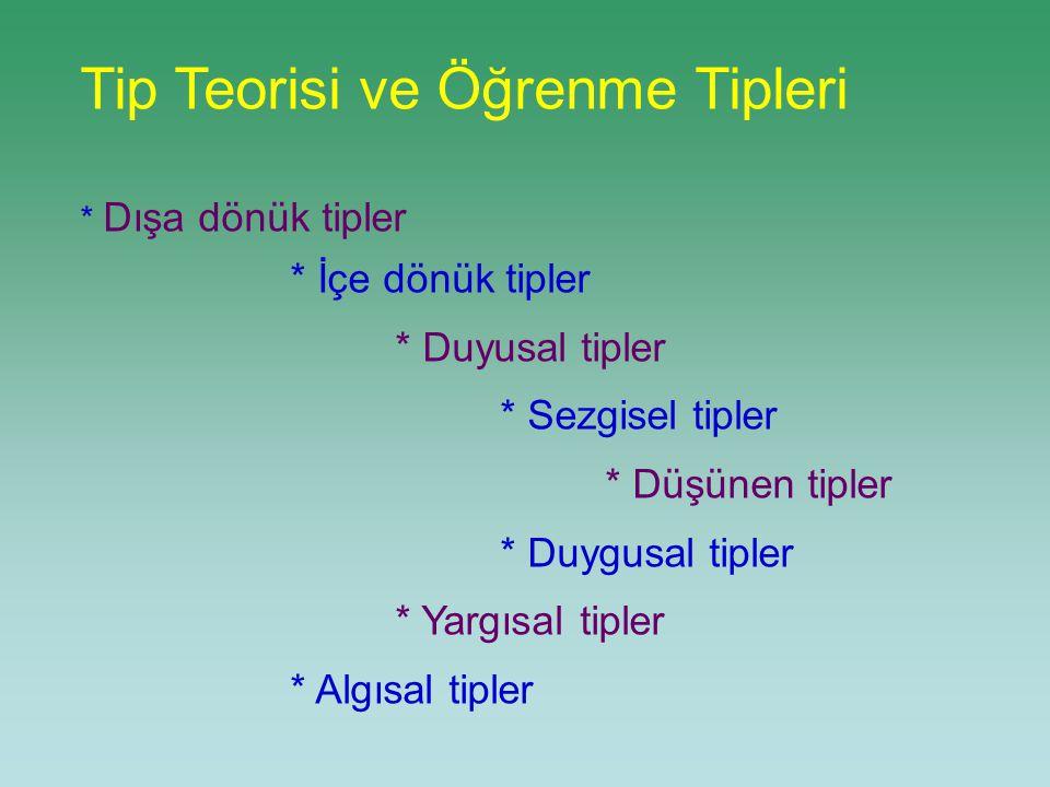 Tip Teorisi ve Öğrenme Tipleri