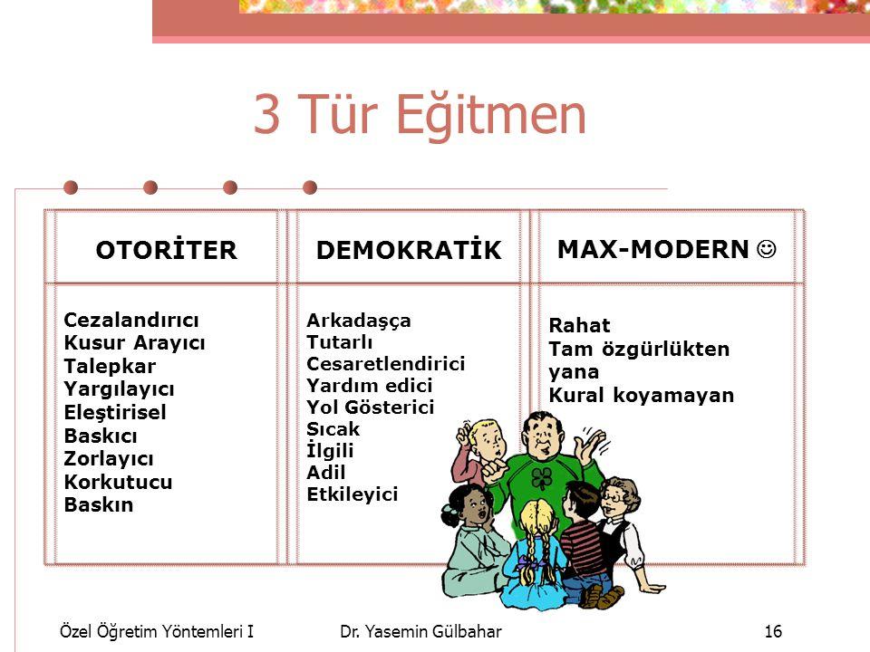3 Tür Eğitmen OTORİTER DEMOKRATİK MAX-MODERN  Cezalandırıcı Rahat